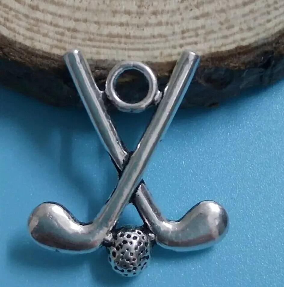 HOT!!! Golf / Hockey Fashion Jewelry Vintage silver Jewelry Charm bracelet & Necklace pendant Accessories C219