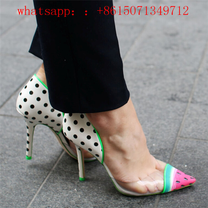 2016 New Hot Sale Fashion Watermelon Women Pumps Sexy High Heels Shoes Woman PVC Transparent Mujer Polka Dot Pointed Shoes Pump кратон next 180