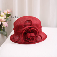 2019 Brand Pure Sinamay Flower Sun Hats Summer Women Bowknot Red Bucket Hat Travel Beach Ladies Party Fedora Sun Hat Sombrero