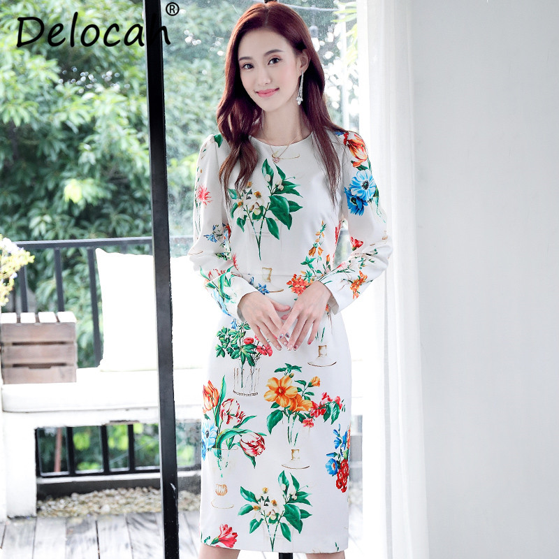 126e2f074a5 Combuy     Delocah 2018 New Women Autumn Dress Fashion Runway Design Long  Sleeve Elegant White Floral Flower Print Casual Party Midi Dress-in Dresses  from ...