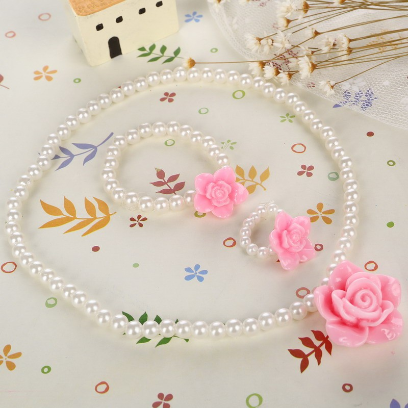 Children Cute Simulated Pearl Chain Pendant Necklace/Ring/Bracelet Rose Flower Charm Bracelet Kids Lovely Jewelry Sets 3