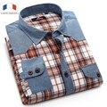 Langmeng 2016 venda quente dos homens de manga comprida jean camisas casual fino os homens se vestem camisa xadrez ajuste dois bolsos denim camisas tamanho grande XXXL