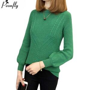Женский вязаный пуловер с длинным рукавом PEONFLY, вязаный пуловер-трико зеленого цвета, Осень-зима 2019