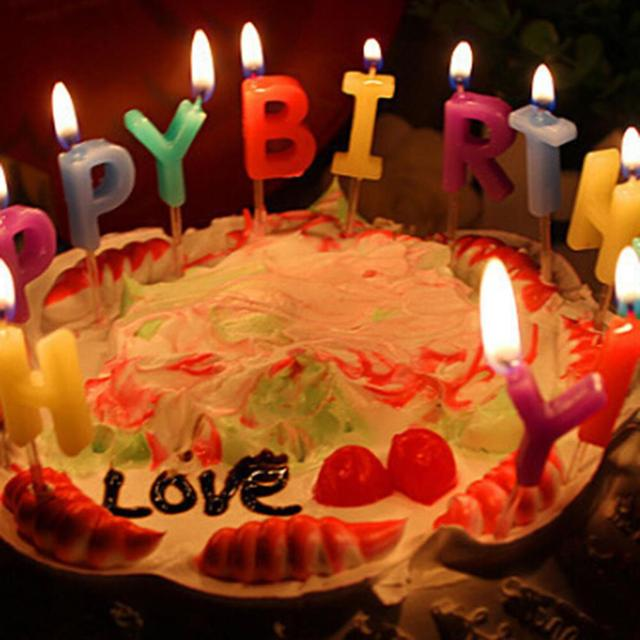 Lovely Colorful Happy Birthday 13 Pcs Letters Cake Sparkle Candles