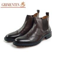 Grimentin мужские ботинки натуральная кожа коричневый Роскошные вечерние обувь повседневная обувь в деловом стиле для офиса 2018 горячая распрод
