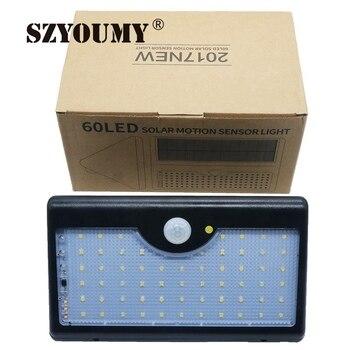 SZYOUMY LED Güneş Açık Sundurma Işık 60LED 5 Modları IR Uzaktan Kumanda Duvar Işık Hareket Sensörü ile IP65 Üçgen Duvar lambası
