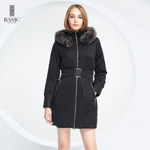 BASIC Jacket And Coat For Women Winter Removable Fox Fur Female Warm Parka Hood Overcoat 14W-35
