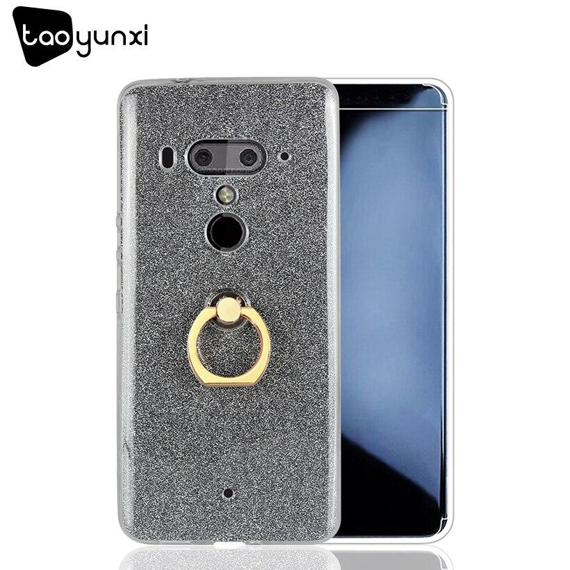 TAOYUNXI Glitter Silicone Glossy Case For HTC U12 Cases U12 Cover Cardboard Soft TPU Plain Covers With Finger Ring Fundas Coque