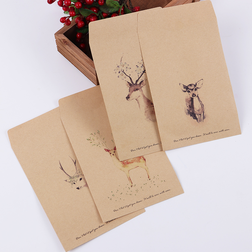 Vintage Kraft Paper Envelope DIY Retro Deer Envelopes Wedding Gift  Office Stationery Supplier 10 PCS