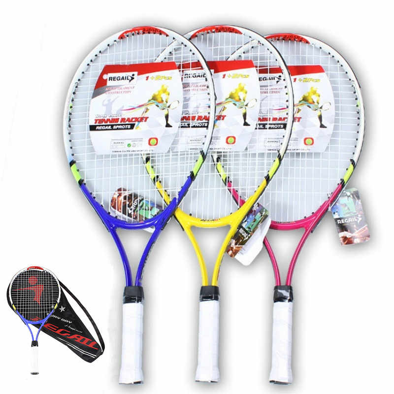 1Pc Teenager's Training Tennis Racket Carbon Fiber Top Steel Racquet with Carry Bag for Children Beginners