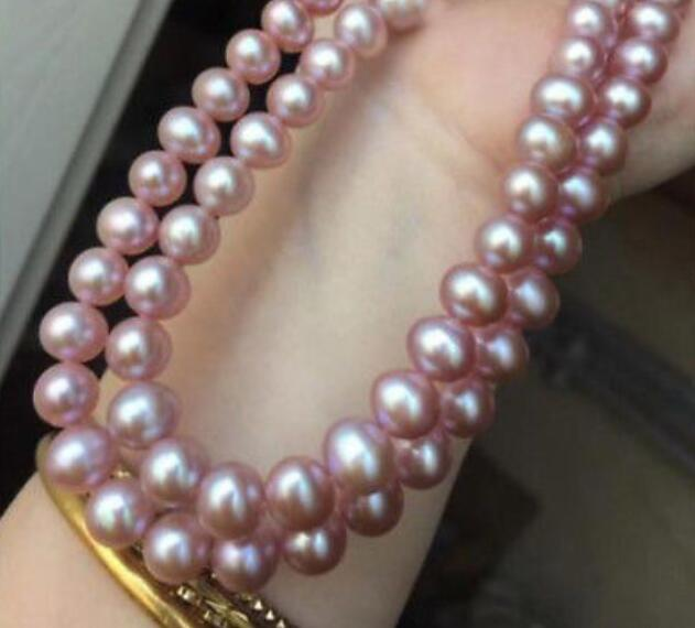 """35 inch 50""""AAA 9-10 mm PURPLE pearl necklace yellow CLASP"""