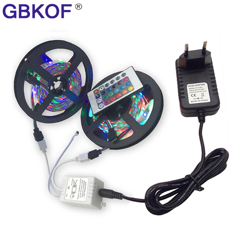 5M 10M 15M RGB led SMD 2835 3528 LED Strip Light diode tape flexible Strip light Waterproof 12V adapter EU US led strip Full kit 10m 5m 3528 5050 rgb led strip light non waterproof led light 10m flexible rgb diode led tape set remote control power adapter
