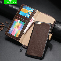 Zip Wallet Genuine Leather Case For IPhone 6 6S Plus Coque Multifunction Cover Purse For IPhone