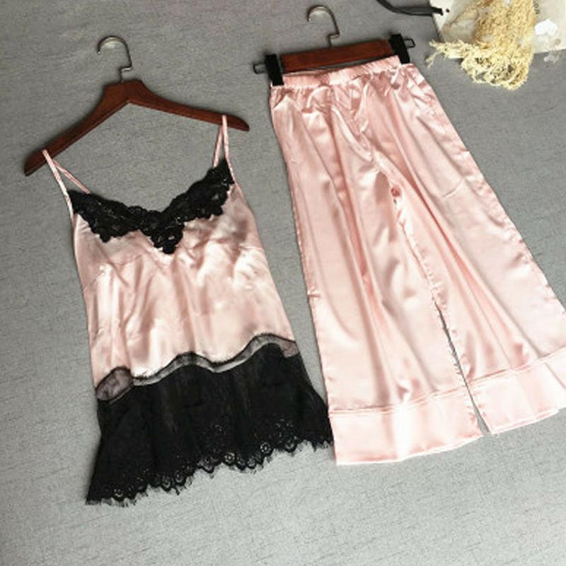 Women\'S Sexy Satin Silk Lace Pajama Sets Sleeveless Sleepwear Babydoll Lingerie Nightwear Ladies Costume Homewear Summer