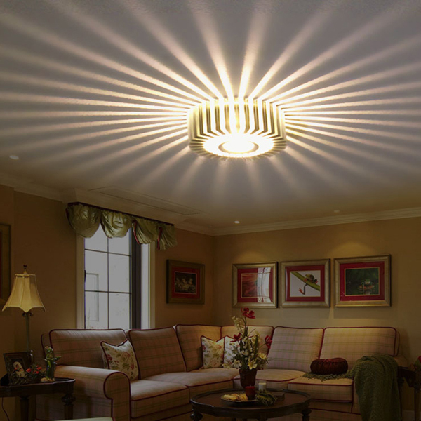 Silver 3W LED Wall Lamps Porch Decor Sun Flower Lamp AC100 240V Down Light FOR Home Indoor Ceiling Living Room Bedroom Lighting