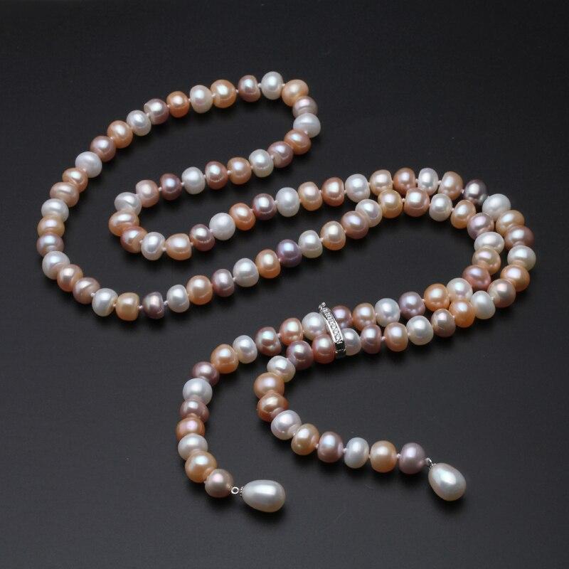 900mm Echt lange perlenkette für frauen, adustable 9-10mm größe braut natürliche süßwasser perlenkette schmuck