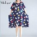 MissLymi XXL-6XL Женщины Плюс Размер Большой Карман Dress 2017 Новый Стиль Лето Ретро Случайные Свободные Печати Хлопок Белье Негабаритных Dress