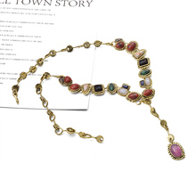 2019 ZA New Arrive Vintage Long Necklace Statement colorful Rhinestone Bijoux For Women Girls Hot Sale Jewelry