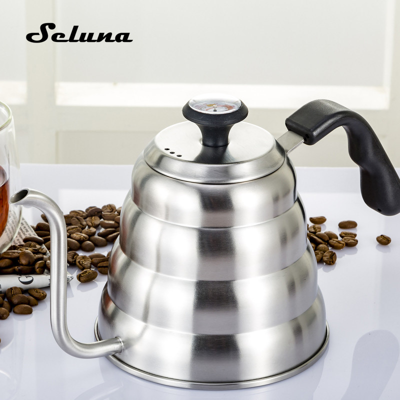 Stainless Steel Coffee Pot Long Spout Kettle Gooseneck Drip Coffee Kettle Thermo Maker Thermometer Pour Over Teapot 1.2L 1000ml