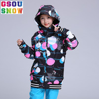 GSOU SNOW winter Kids Ski Jacket Girls Skiing Suit Children Snowboard Jacket Windproof Waterproof Thermal Coat Ski Clothing suit