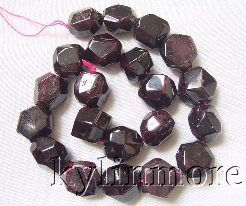 12x18mm Natural Garnet Faceted Nugget Beads