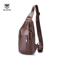 BULLCAPTAIN 2018 Small Brand casual messenger bags MEN Shoulder BAGS Fashion GENUINE Leather MALE Crossbody Bag men chest bag103
