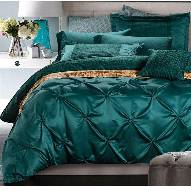 European Luxury Satin Washed Silk 4pcs Fullqueenking Size 100