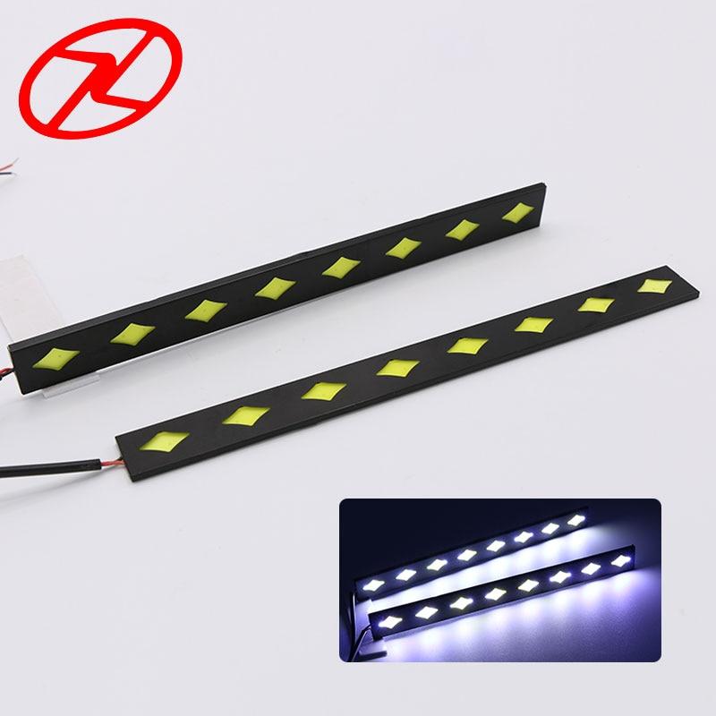 2PCS COB diketuai DRL kalis air siang berjalan cahaya untuk lampu - Lampu kereta - Foto 1