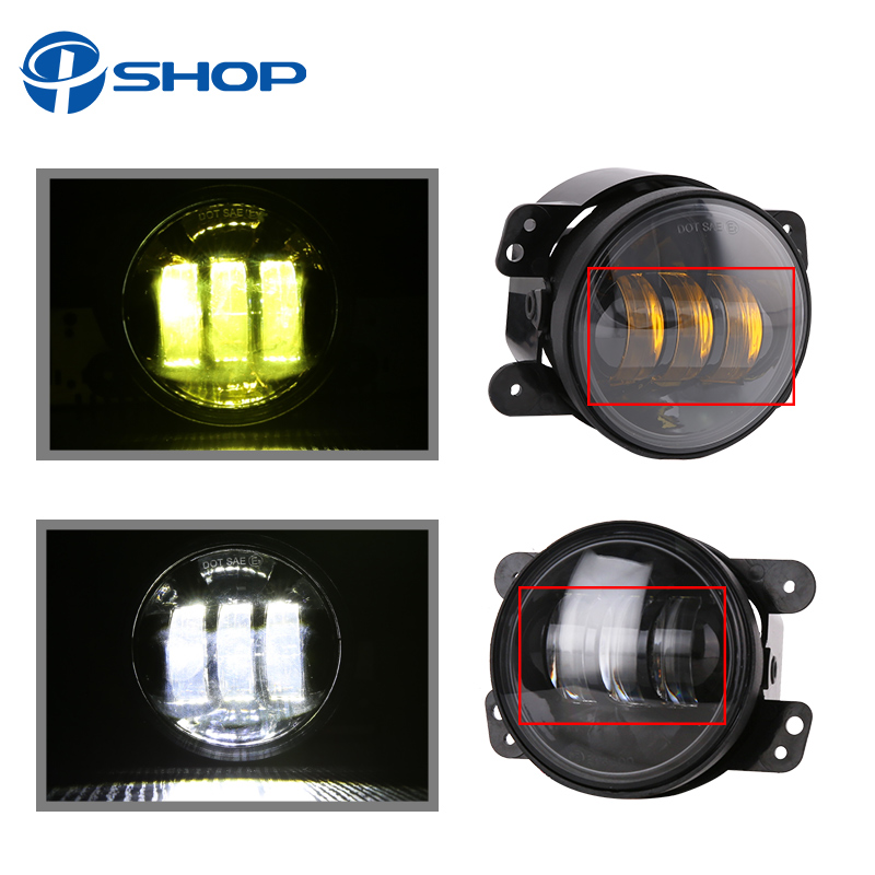 4 Inch Round Led Fog Light Headlight 30W Projector lens With Halo DRL Lamp Offroad For Jeep Wrangler Jk Dodge hummer H1 H2 funlight 30w 4 inch auto round led fog light with angle eye for jeep wrangler jk 2007 15