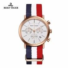 Reef Tiger/RT Fashion British Style Watches Waterproof Nylon Strap Men's Watch Rose Gold Tone Watches RGA162