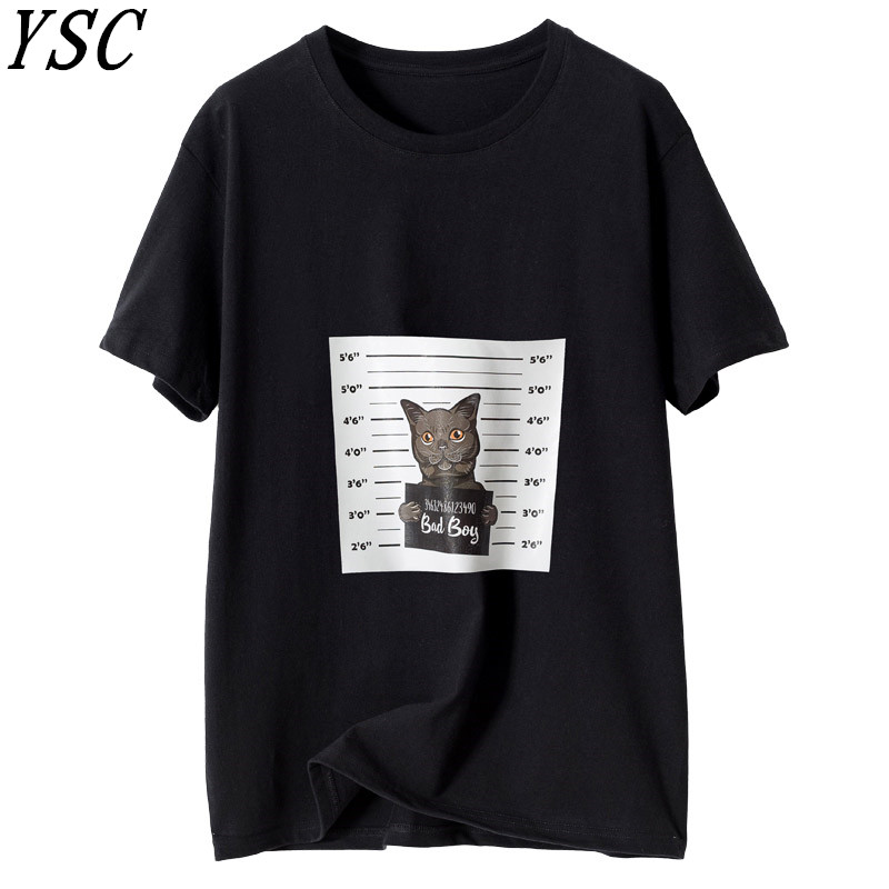 YSC 2019 Summer New pattern Women Pure cotton Sweater Round collar Solid color Short sleeve Breathable