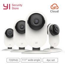 YI kamera 720P 4 zestaw PC bezprzewodowa kamera IP System nadzoru bezpieczeństwa noktowizor kryty dziecko Pet Monitor YI chmura WiFi GL