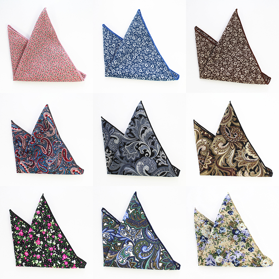 GUSLESON Vintage Men's Paisley Handkerchief Cotton Pocket Floral Pocket Square Business Chest Towel Hanky Gentlemen Suit Hankies