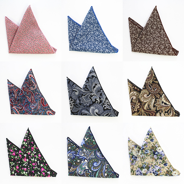 ba02347903c0 GUSLESON Vintage Men's Paisley Handkerchief Cotton Pocket Floral Pocket  Square Business Chest Towel Hanky Gentlemen Suit Hankies