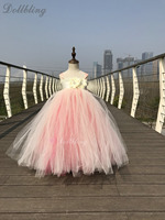 Plush pink club Tutu Dress Long Fluffy Tulle ball Flower Cinderella princess Kids my 1st Birthday Performing Party Dresses