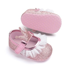 New Baby Girl Shoes Lace PU Leather Princess Baby Crown Shoes First Walkers Newborn Moccasins For Girls(China)