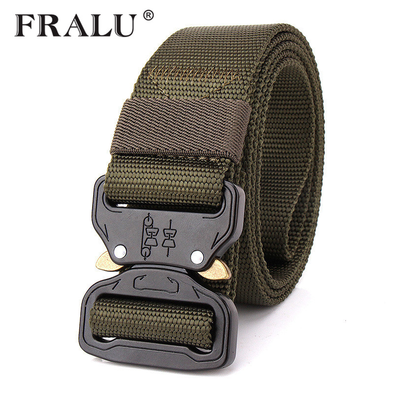 FRALU US Army Combat Tactical Belt Men Thicken Metal Buckle Nylon Military Belts Heavy Duty Molle Carry Survival Waist Belt3.8cm