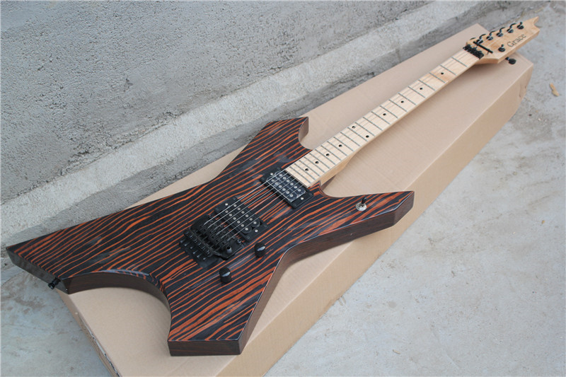 free shipping electric guitar natural zebra wood body black hardware with floyd rose 2 open. Black Bedroom Furniture Sets. Home Design Ideas