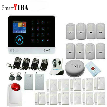 SmartYIBA WiFi GSM GPRS Whole-Home Alarm Security System Remote Control Voice Prompt Wireless Home Security GSM Alarm Systems smartyiba wifi gsm gprs intelligent home security alarm system kits remote voice control support ios android system app remote