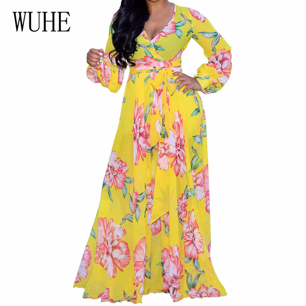 Nuevo vestido holgado de manga larga de encaje con escote en V profundo Sexy vestidos Maxi de gasa con estampado Floral para otoño para las mujeres