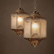 Retro americana comedor Luces Pendientes India estilo sudeste de Asia 110V260V patrones o diseños de iluminación de metal decorativos