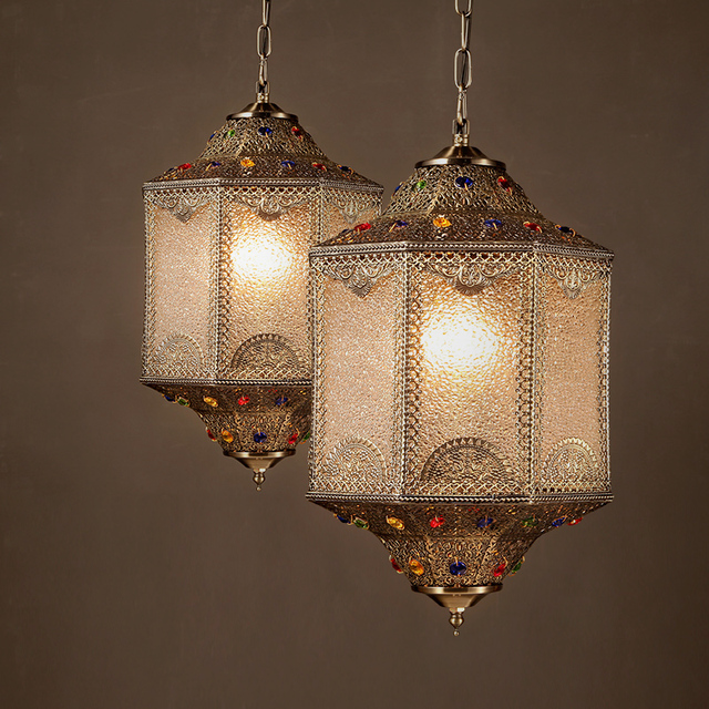 American Retro Dining Room Pendant Lights India Southeast Asia Style Decorative Metal Patterns Or Designs
