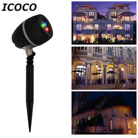 ICOCO Outdoor LED Stars Laser Projector Flood Light Remote Control Red Green Blue Showers Light Garden