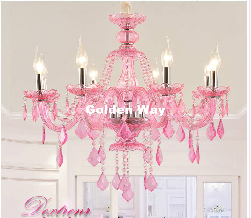 Modern Chandelier Pinky Hanging Lighting European Style Glass Chandeliers Light for Living Dining Room Restaurant Decor Lights