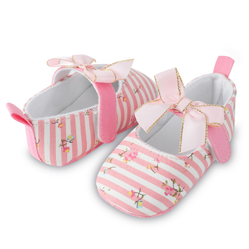 2018 Spring Summer Baby Girl Toddler Shoes Bow Princess Shoes Stripe Casual Cotton The First Walker Shoes