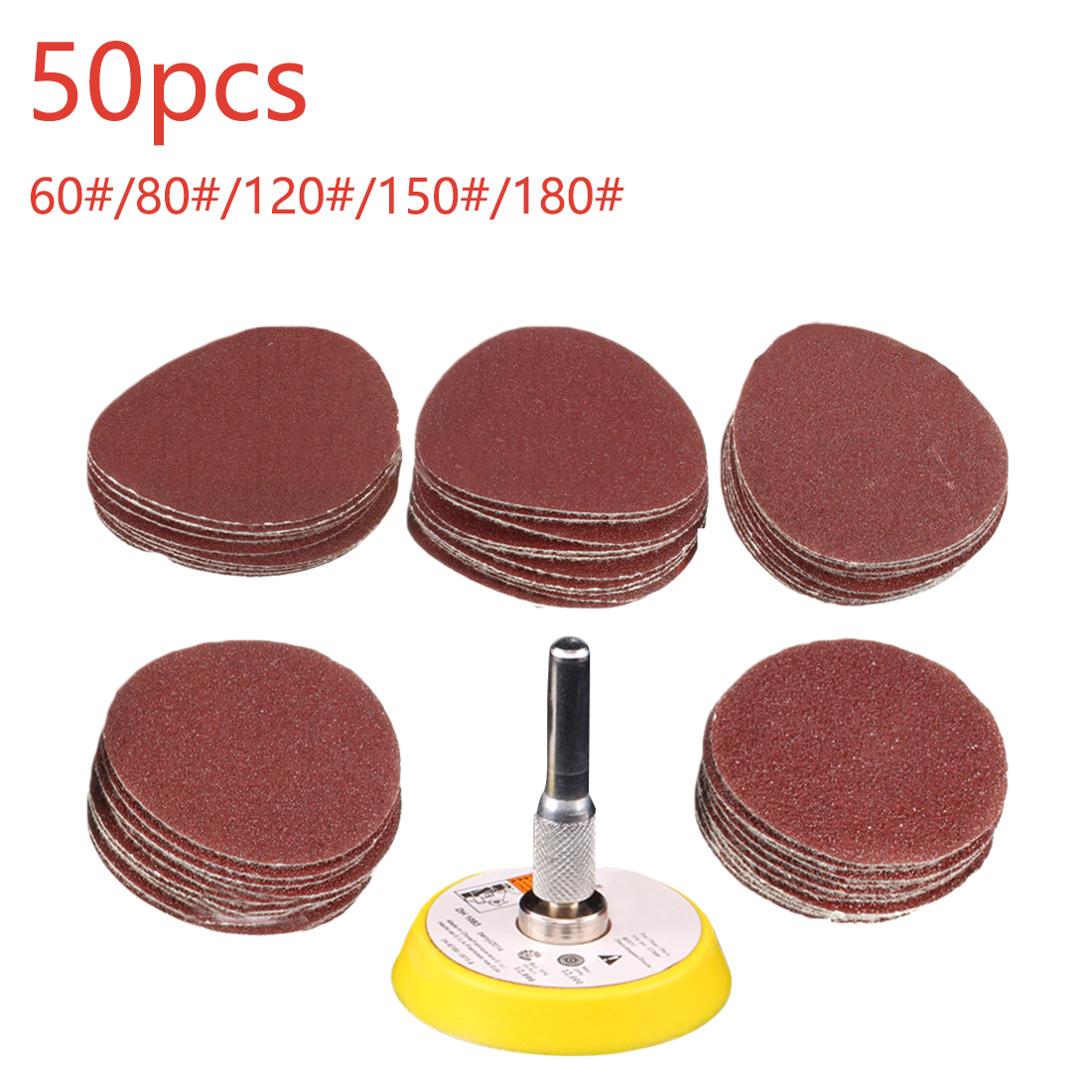 2 Inch  Brushed Polishing Pad 50pcs Wet Sandpaper Polishing Grinding Tool 60/80/120/150/180+1pc Hook Loop Plate Fit Dremel