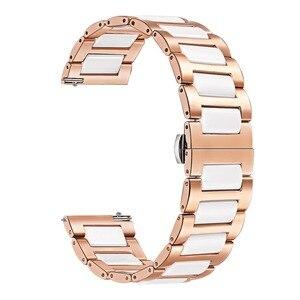 Image 2 - Cerâmica + pulseira de aço inoxidável para garmin vivomove hr 3 3 s/vivoactive 4 4S/venu luxe estilo liberação rápida pulseira relógio