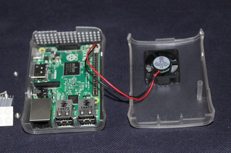 Новые функции! Пи коробка abs случае с модуля вентиляторов для Малина pi 2 & Малина pi модель b plus + 3 шт чистый алюминиевый радиатор