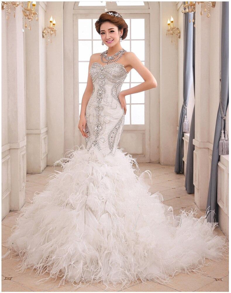 feather and crystal wedding dress mermaid