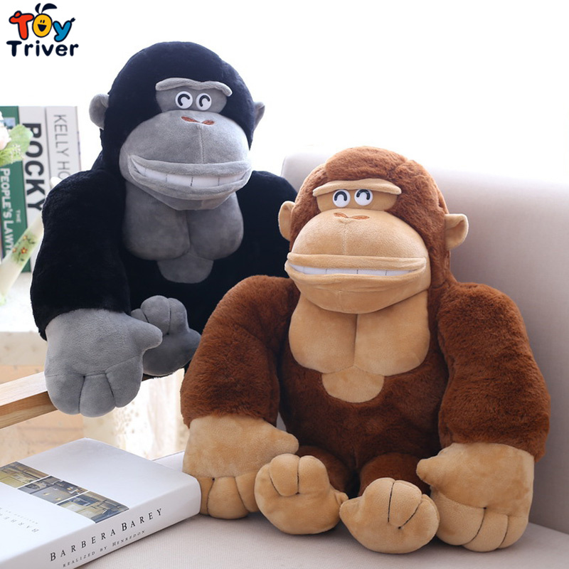 Plush Simulation Gorilla Orangutan Chimpanzees Monkey Toy Stuffed Doll Toys Baby Kids Children Birthday Gift Home Shop Decor stuffed animal toy monkey doll simulation silver back gorilla dolls plush toys for children